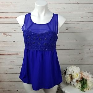 American Eagle Sleeveless Blue Sequin Blouse